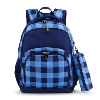 COMFORT BACKPACK 2PCS - CHECKED NAVY/BLUE