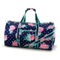 GYM DUFFEL BAG - NAVY DOTS AND PEONY